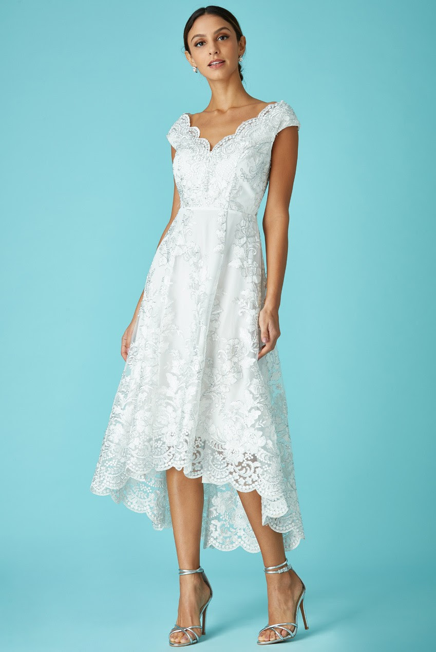 embroidered lace midi dress with asymmetrical hem  white