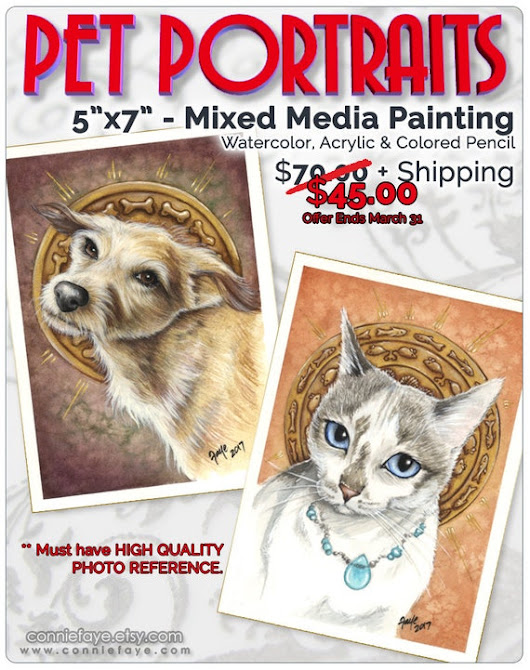 Pet Portraits Cats Dogs Custom 5x7 Paintings by ConnieFaye on Etsy