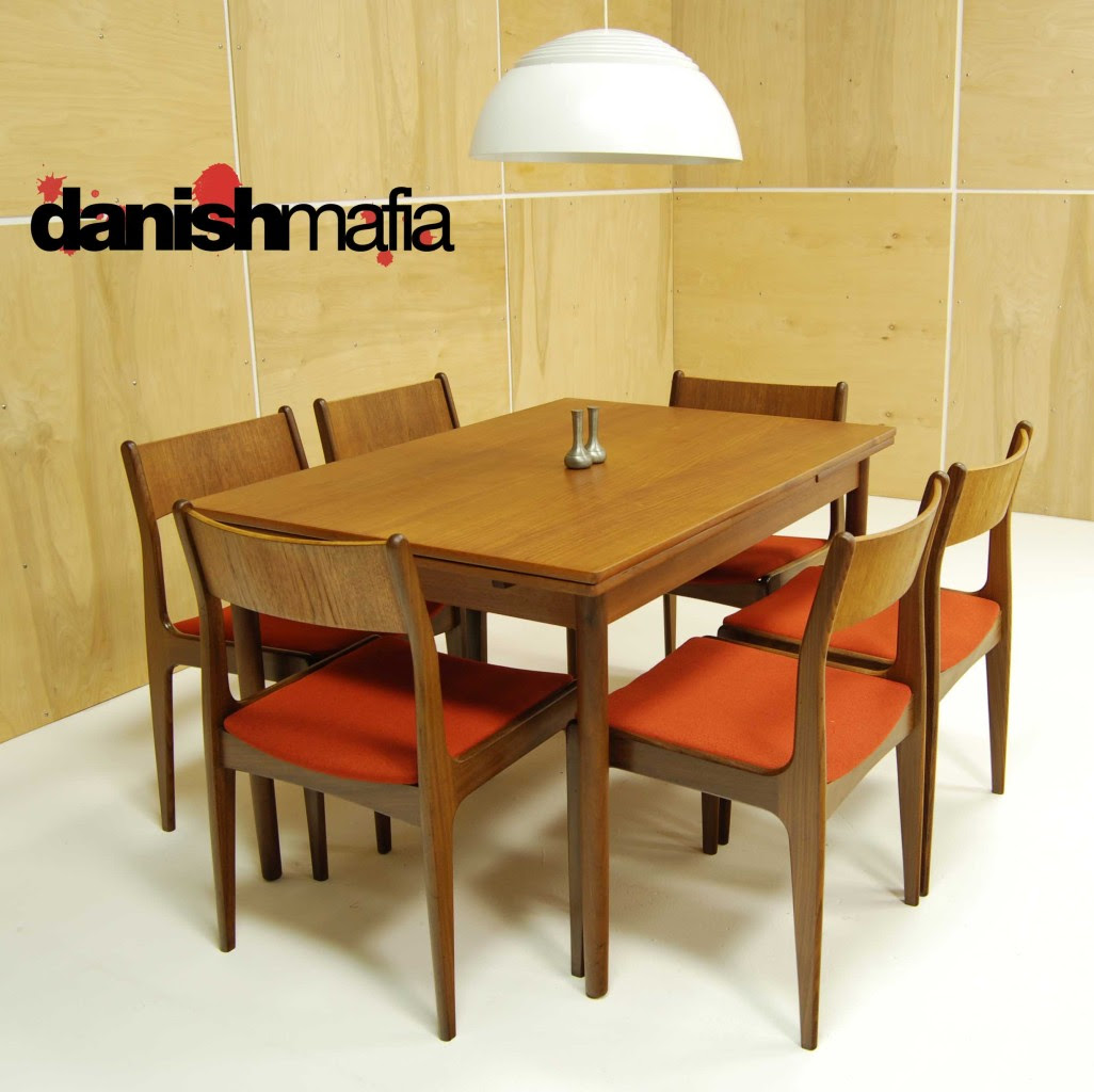 Modern Dining Table and Six Chairs Teak, walnut and caning Denmark