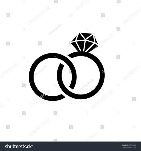Wedding Ringsvector Flat Icon Isolatedmodern Simple Stock