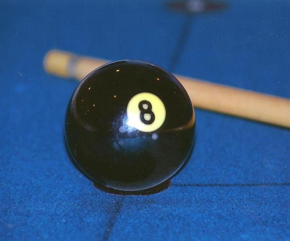 8 Ball and Pool Cue Photo on Blank Note Card by TheOldBarnDoor