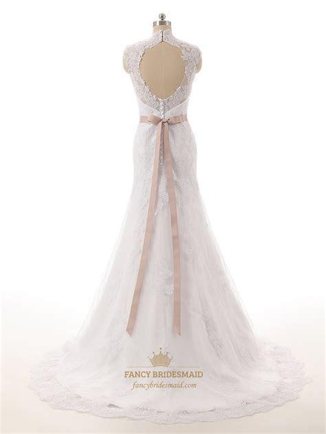 Ivory Lace Sheer Illusion Neckline Mermaid Wedding Dress