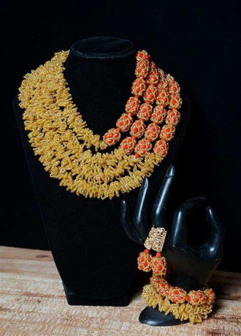 Latest Design Gold and Red African Nigerian Wedding Beads
