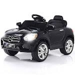 6V Kids Remote Control Battery Powered LED Lights Riding Car-Black - Color: Black
