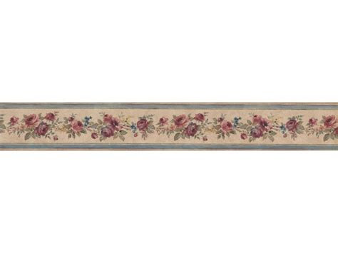 narrow floral rose wallpaper border