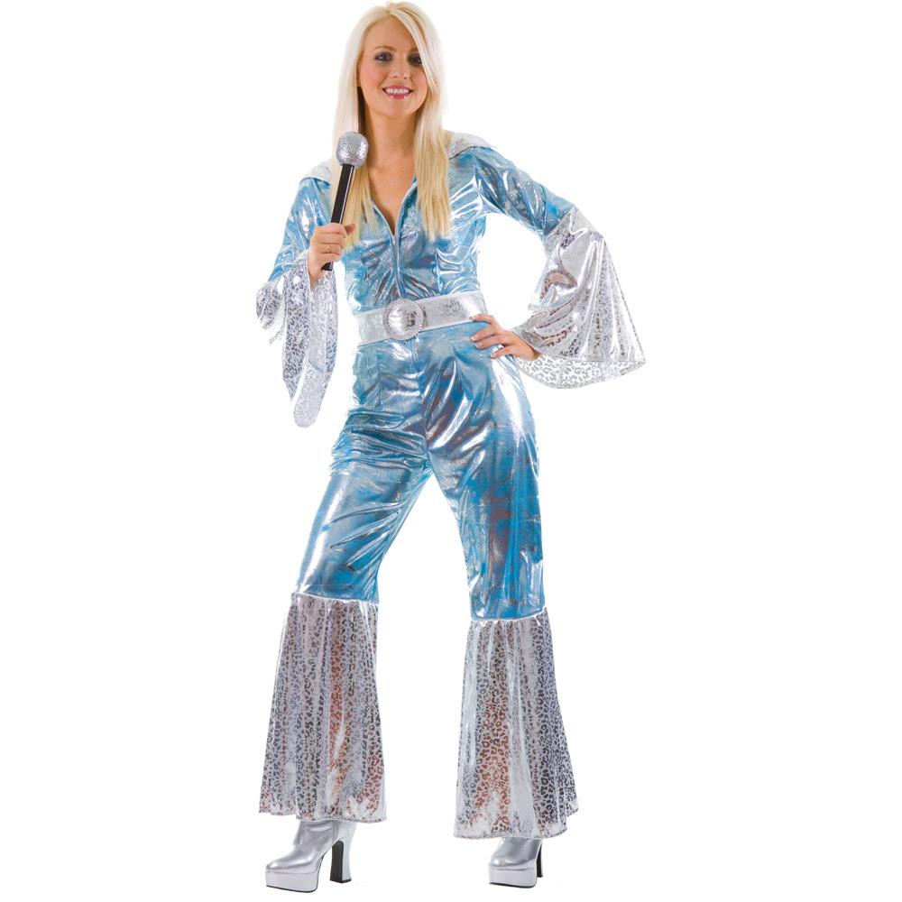 waterloo 70s abba ladies fancy dress costume blue  ebay