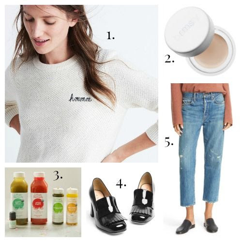 Madewell Sweater - rms beauty Highlighter - Urban Remedy Juice - M.Gemi Loafers - Vince Jeans