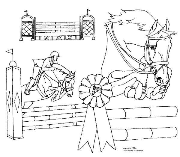 ausmalbilder pferde turnier  ausmalbilder
