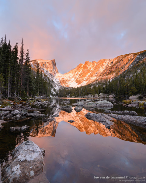 Sunrise reflection in Dream Lake, RMNP