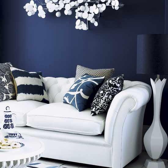 Blue wall - Modern - Living Room - london