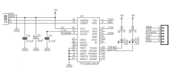 USB to Serial Converter (FTDI) module circuit