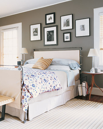 A great idea if your bed frame has dated or flawed details: a slipcover for a bed!