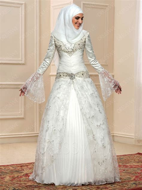 Beading Lace Long Sleeves Muslim Wedding Dress 11598015