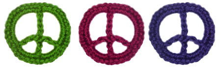 crochet peace sign