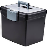 Storex Portable File Box with Lockable Lid - Black with Clear Top, Adult Unisex