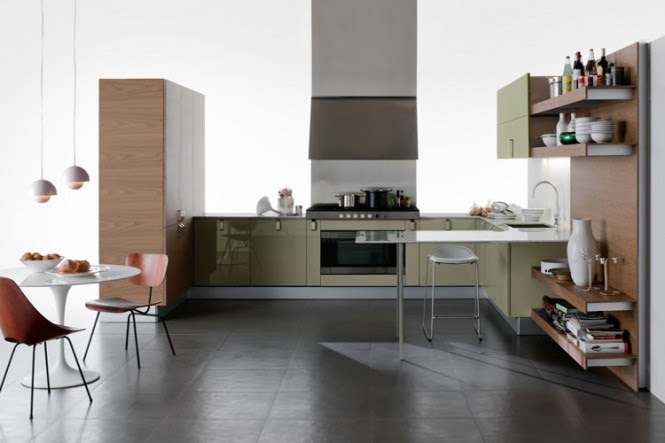 Sage green gloss kitchen units