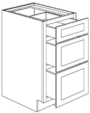 "3DB21 Three Drawer Base Cabinet 21"" Wide x 24"" Deep x 34.5 ..."