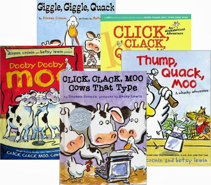 Ideas for using Doreen Cronin's Click, Clack book series to teach a variety of ELA topics. FREEBIES included!