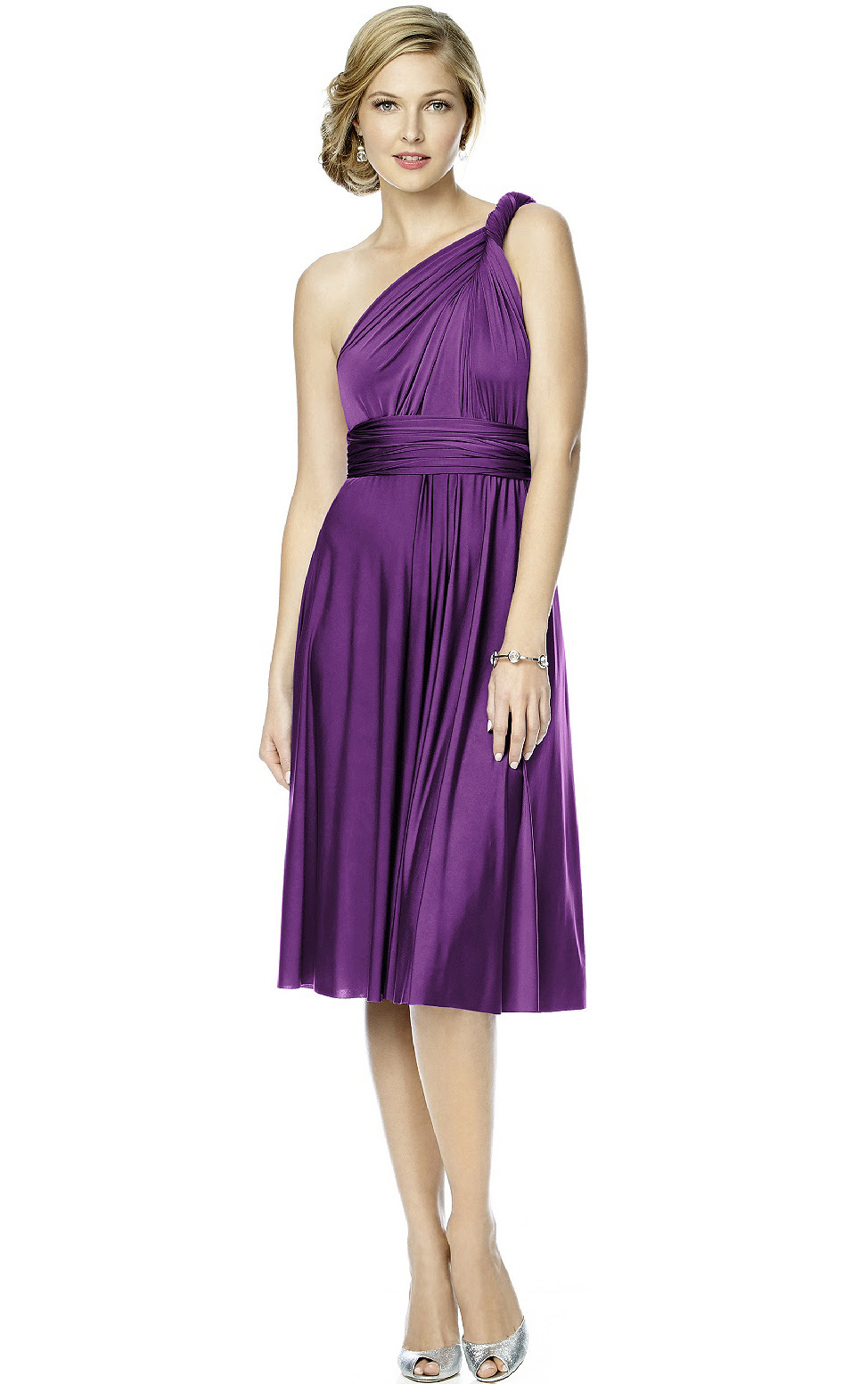 Knee-length Sleeveless Backless A-line Satin Bridesmaid Dresses_1