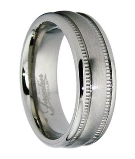 6.5mm Men's Titanium Wedding Ring with Milgrain Edges