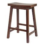 Winsome 94084 24 Inch Saddle Seat Stool - Walnut