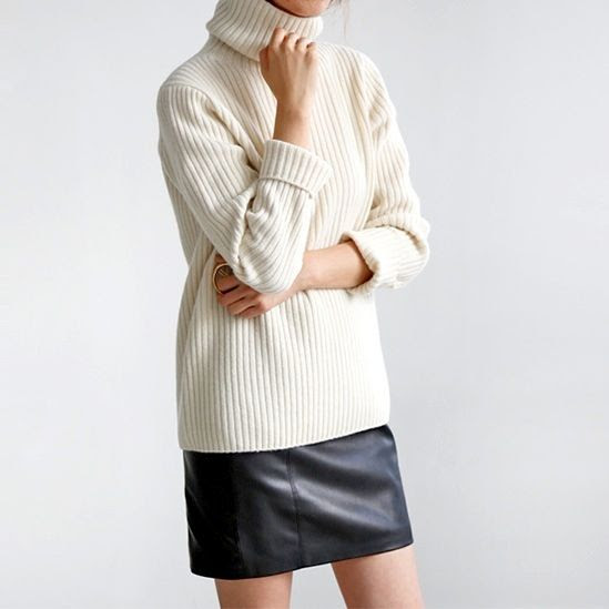 Le Fashion Blog Oversized White Turtleneck Short Black Leather Skirt Via Flat 80