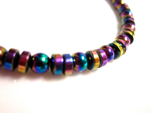 Magnetic Hematite Bracelet  Colorful Rainbow by slappytheseal