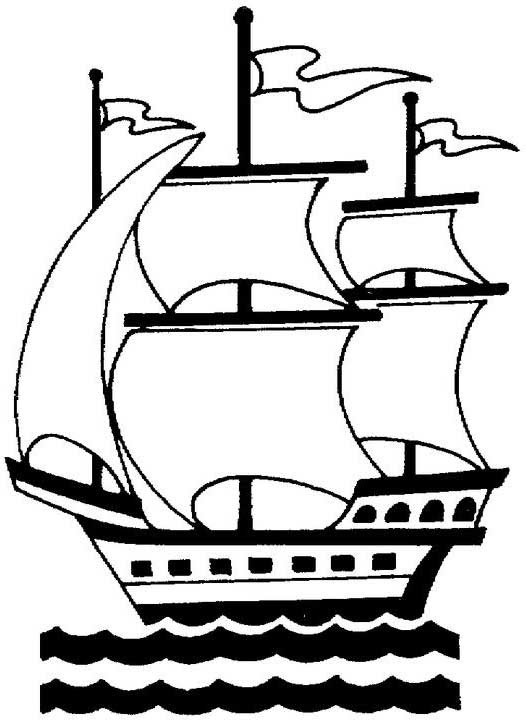 Columbus Santa Maria In Graphic On Columbus Day Coloring Page