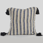 LR Resources PILLO07378NAVIIPL 18 x 18 in. Striped Cottage Square Throw Pillow - Blue