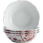 Bonjour Yuletide Garland 4 Piece Fluted Cereal Bowl Set