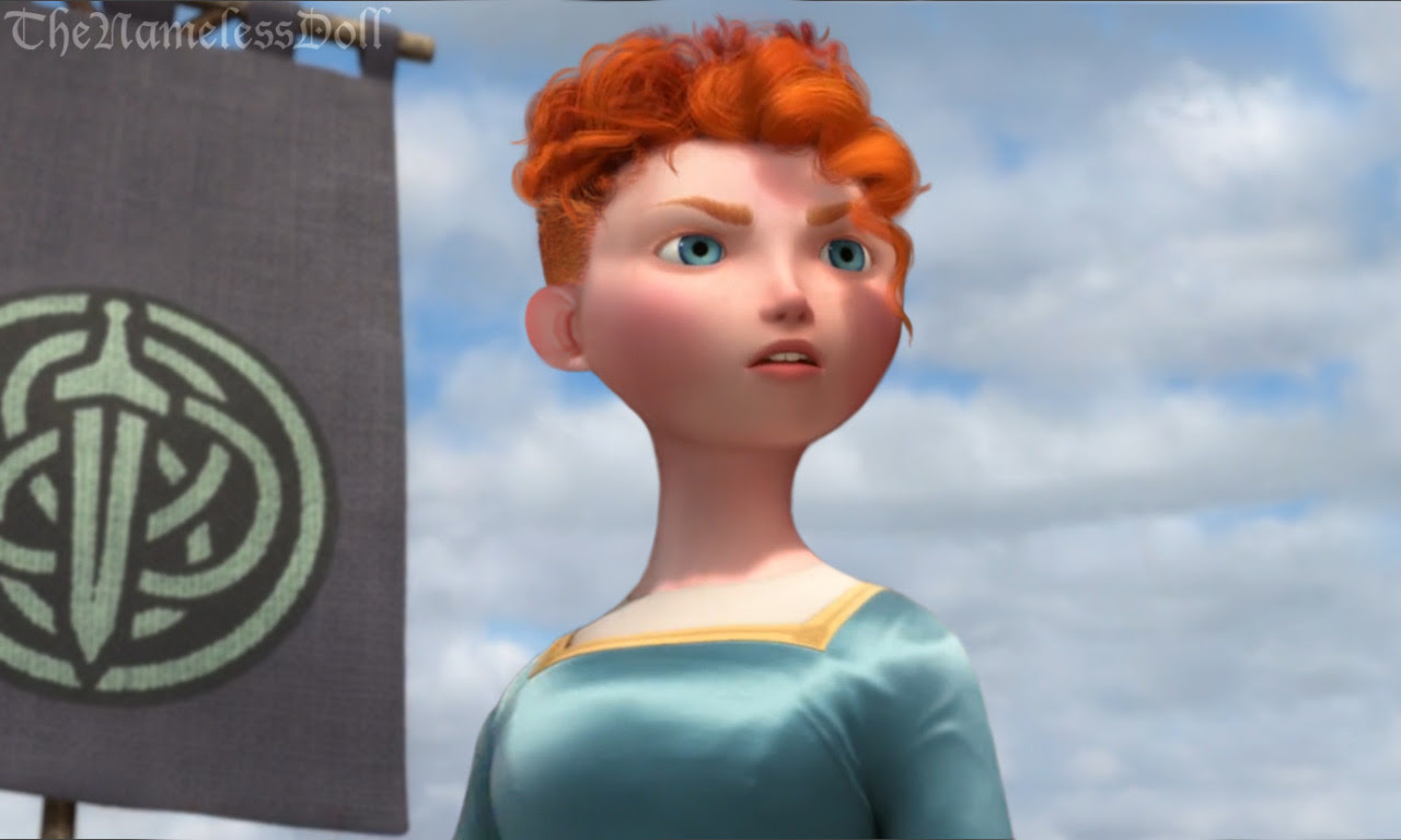 Imagine the queen's expression when she sees that her daughter is not only embarrassing her entire clan, but she has also cut off her long locks. :o I imagine that it would have been some kind of a statement from Merida to her mother, that no one can control her. PS: This is basically the exact same hairstyle that her little brothers have, except not as poofy upwards.Also - Wanna play an extremely uneventful drinking game? Watch Brave and take a shot every time you can see Merida's shoulders while her hair is down (aka: it does not count while she has the bonnet). Have frustration fun! :D  For more Disney princesses with short hair:Ariel, Cinderella, Jasmine, Tiana, Belle, Rapunzel, Aurora, Snow White, Anna & Elsa, Kida  EXTRA: Odette & Chel