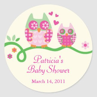 Mom and Baby Owl Baby Shower Favor Sticker sticker