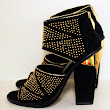 Dolce Vita Black and Gold studded ankle boots with cut-outs. ...