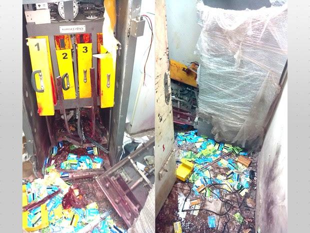 Cofre e caixas ficaram danificados após explosões (Foto: Divulgação/Polícia Civil)