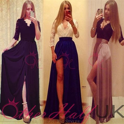 uk women formal lace long dress prom evening party