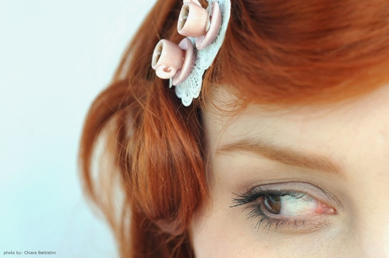 """Tea Cup Bobby Pin With Shabby Lace Doily """"La Petite"""" White, Pink or Peach, Miniature Food Jewelry"""