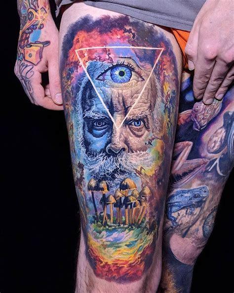 portrait tattoos hand mushroom tattoos