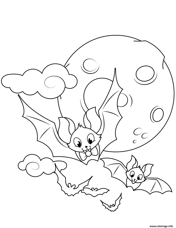 Coloriage Chauve Souris Dans Les Airs Lune Halloween Jecoloriecom