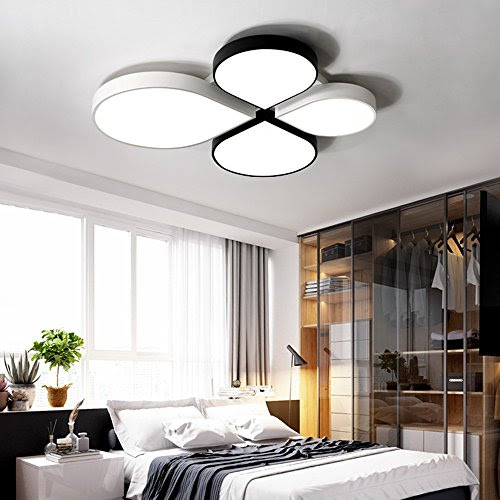 Ceiling lamps-- Simple Modern Creative LED Children 's House CeilingLights Bedroom Restaurant Living Room Ceiling Lights (Size, Light ColorOptional) --Efficiency:A+++ ( Color : White+black-White-light-52*49cm )