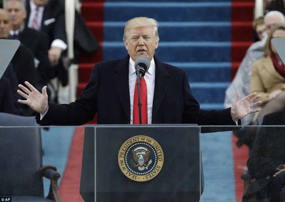 President Donald Trump delivers his inaugural address after being sworn in as the 45th president of the United States during the 58th Presidential Inauguration at the U.S. Capitol in Washington, Friday, Jan. 20, 2017