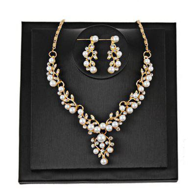 Branches and Leaves Faux Pearls Rhinestone Jewelry Set -$5.16 Online Shopping| GearBest.com
