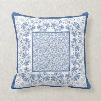 Nostalgic Indigo Floral Border Pillow or Cushion
