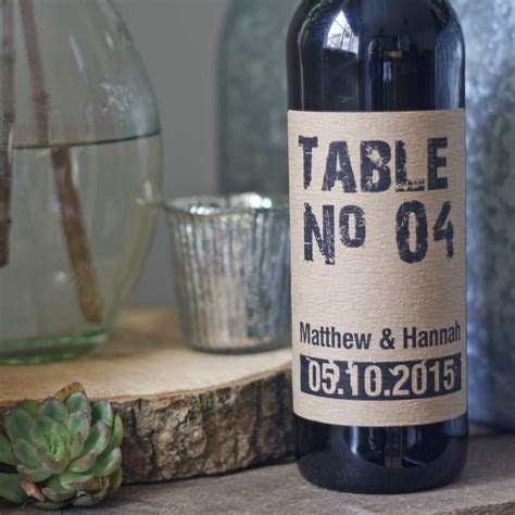 Wine Bottle Table Numbers Rustic Personalised ? The