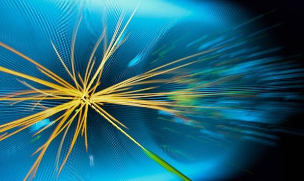 Representação gráfica de colisão de prótons realizada no LHC (Foto: Fabrice Coffrini/AFP)