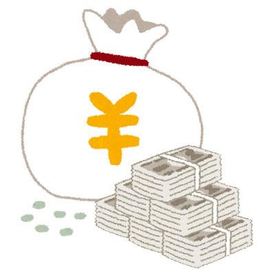 フリー素材 円マークが描かれたお金が入った袋や山積みになった紙幣の