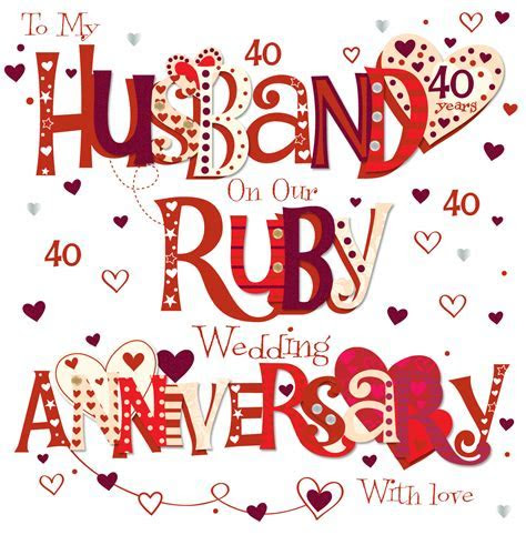Husband Ruby 40th Wedding Anniversary Greeting Card   Cards
