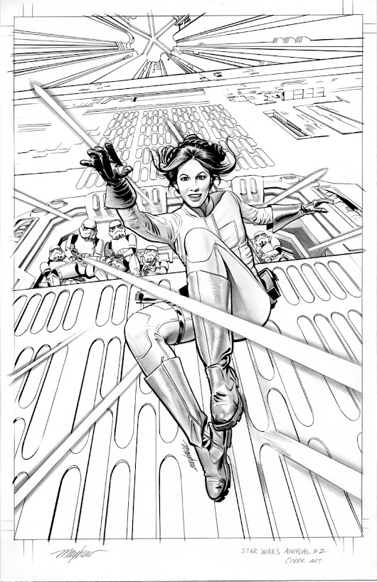 Mike Mayhew Original STAR WARS ANNUAL #2 Cover B&W Art, in Mike Mayhew's STAR WARS ART Comic Art Gallery Room