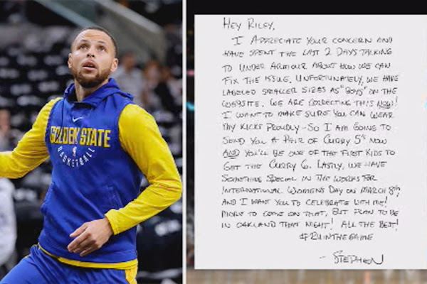29740e42b37 Golden State Warriors star Stephen Curry responds to 9-year-old fan in Napa  who wants his sneakers in girls  sizes