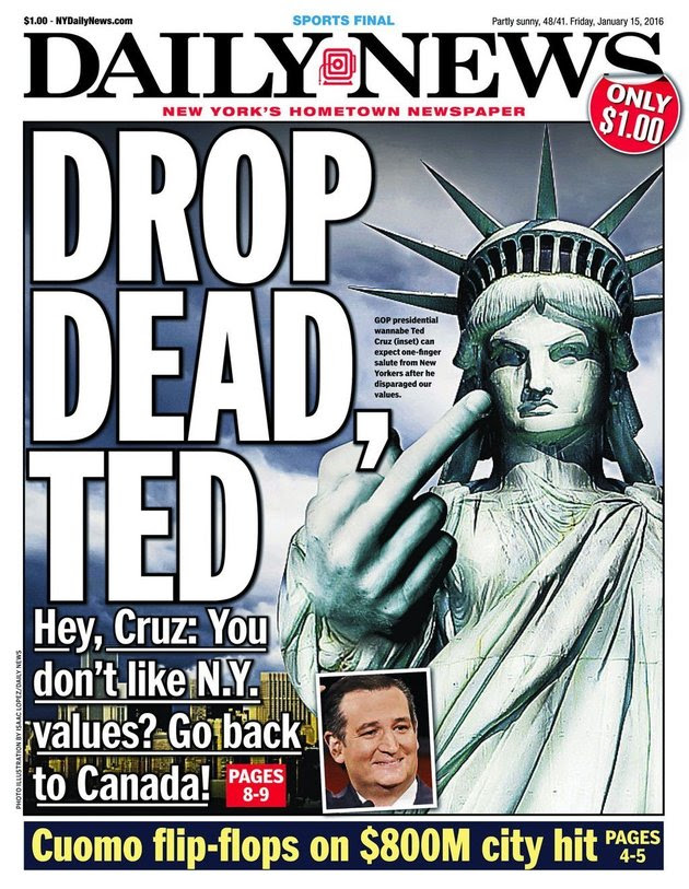 New York Daily News blasts Ted Cruz over N.Y.C. 'values' - MarketWatch