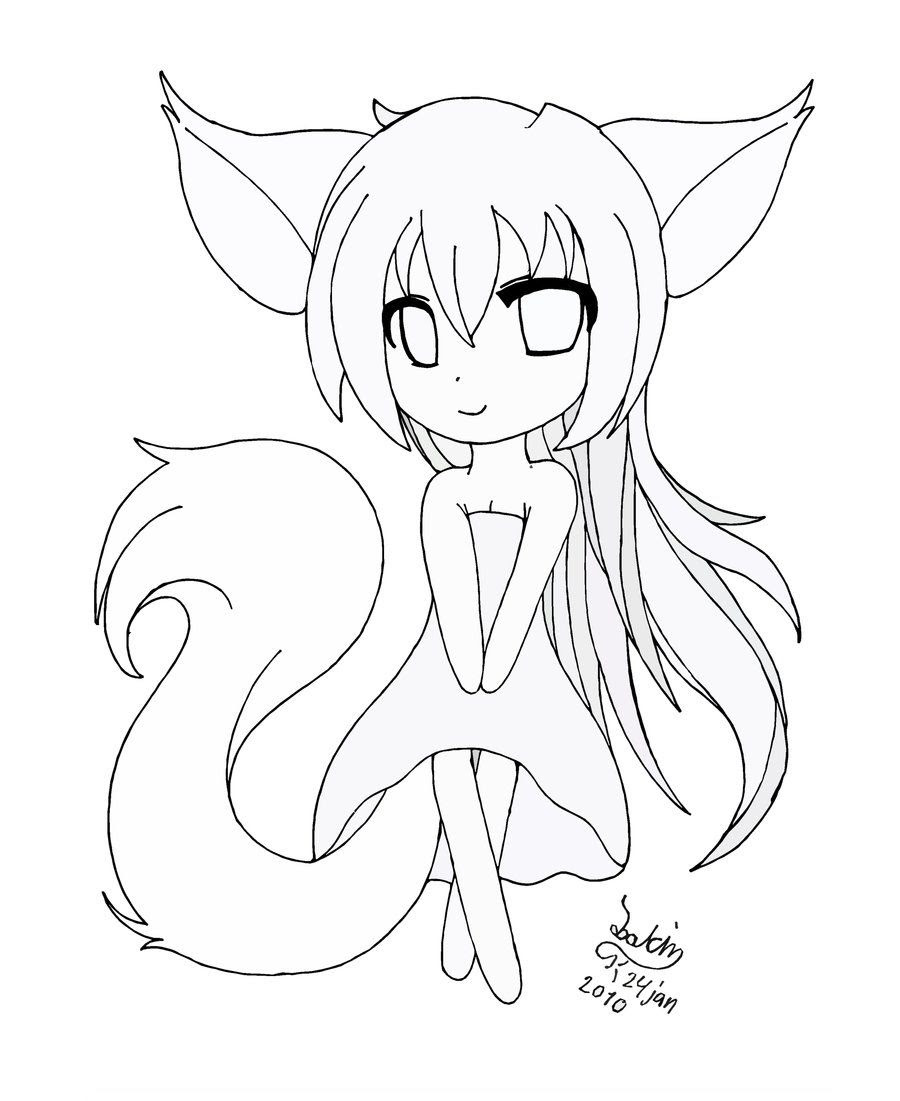 Images Of Cat Anime Girl Coloring Pages